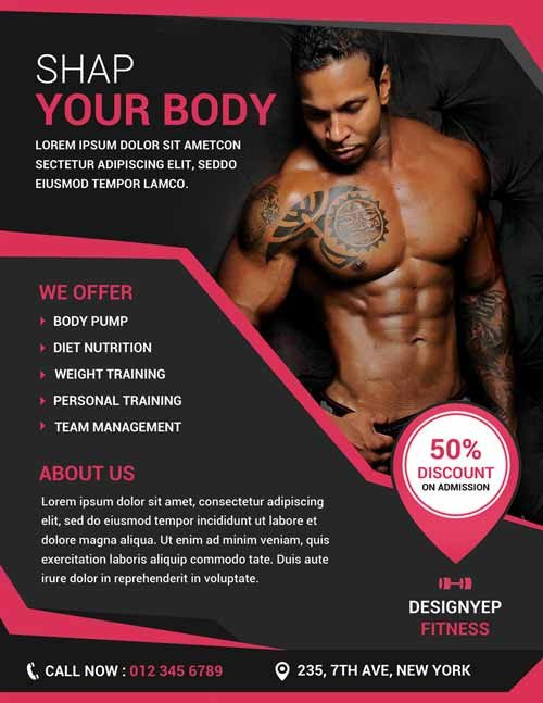 Fitness Flyer Template Free Free Download Fitness and Gym Psd Shop Flyer Template