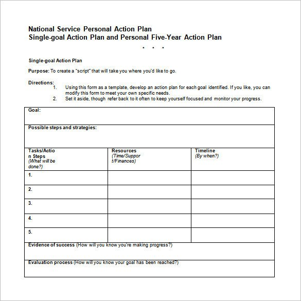 Five Year Plan Template 13 Career Action Plan Templates Doc Pdf Excel