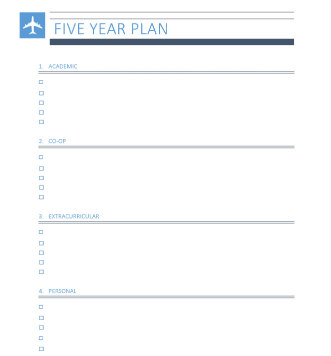 Five Year Plan Template University Of Waterloo