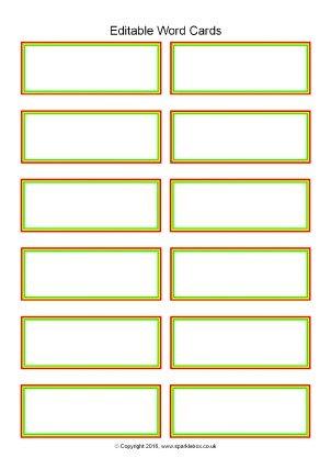 Flash Card Template Word Editable Primary Classroom Flash Cards Sparklebox