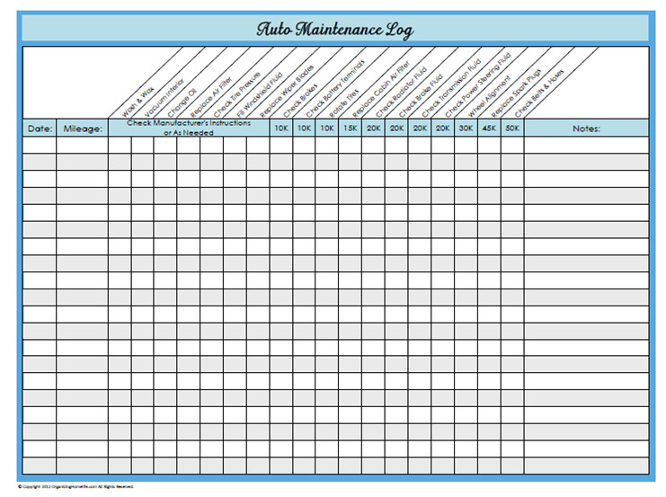 Fleet Vehicle Maintenance Log Template 31 Days Of Home Management Binder Printables Day 23 Auto