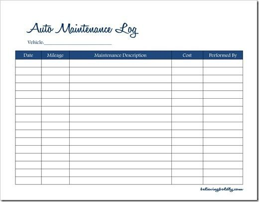 Fleet Vehicle Maintenance Log Template Believing Boldly Auto Maintenance Log–free Printable