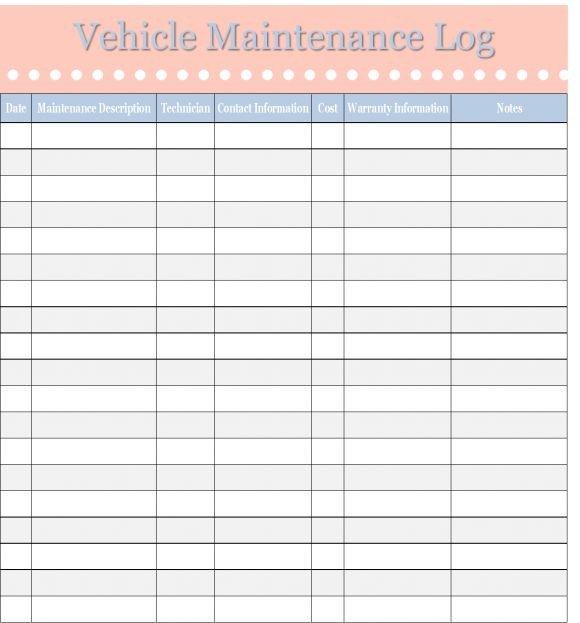 Fleet Vehicle Maintenance Log Template Best 25 Vehicle Maintenance Log Ideas On Pinterest