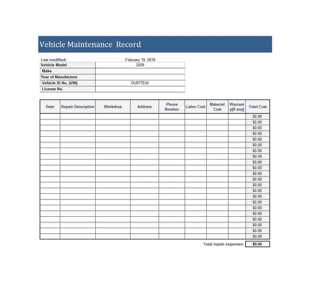 Fleet Vehicle Maintenance Log Template Fleet Maintenance Tracking Spreadsheet Spreadsheet Downloa