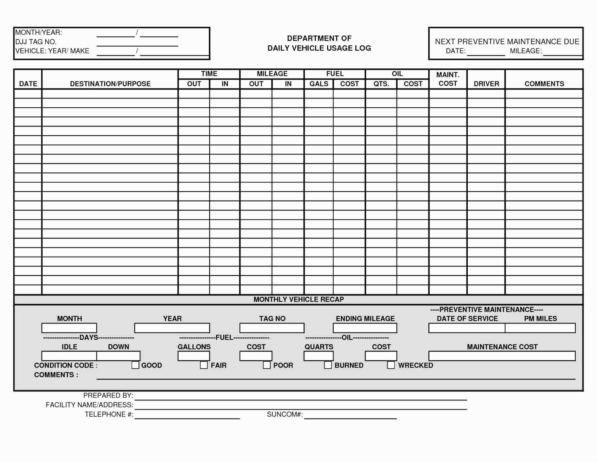 Fleet Vehicle Maintenance Log Template Fleet Vehicle Maintenance Log Template 9 Quick Tips for