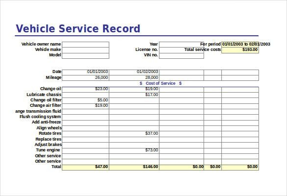 Fleet Vehicle Maintenance Log Template Free Excel Template 20 Free Excel Documents Free