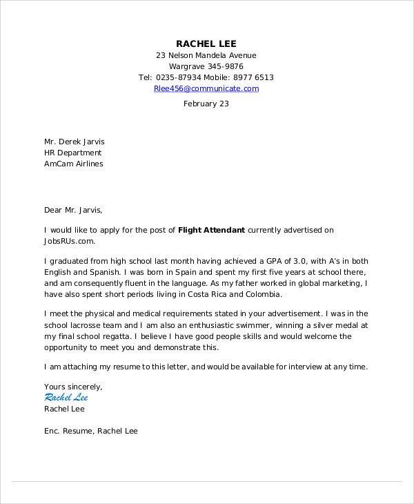 Flight attendant Cover Letter Flight attendant Cover Letter 9 Free Word Pdf format