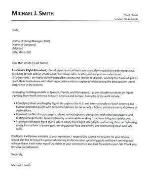 Flight attendant Cover Letter Flight attendant Cover Letter