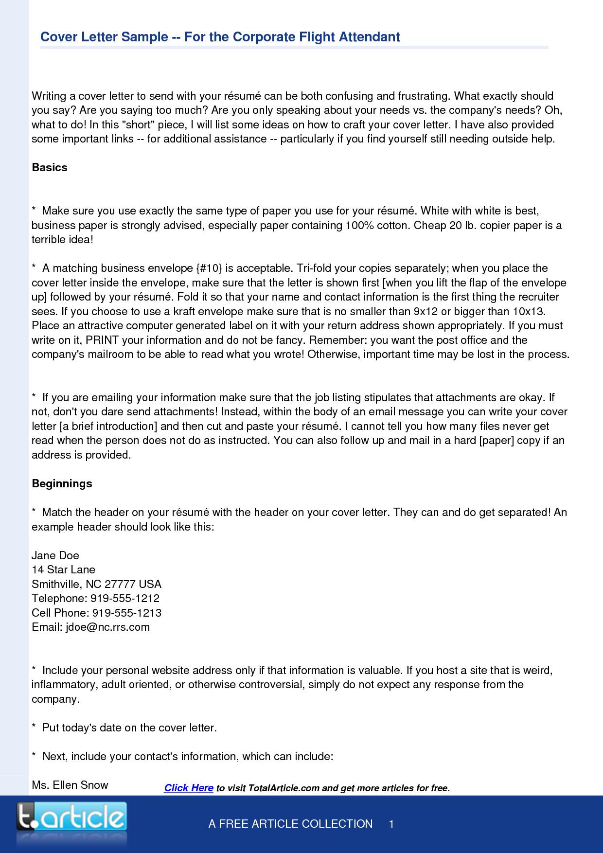 Flight attendant Cover Letter Flight attendant Cover Letter Template