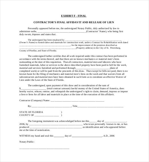 Florida Lien Release forms 11 Lien Release Sample forms – Word Pdf