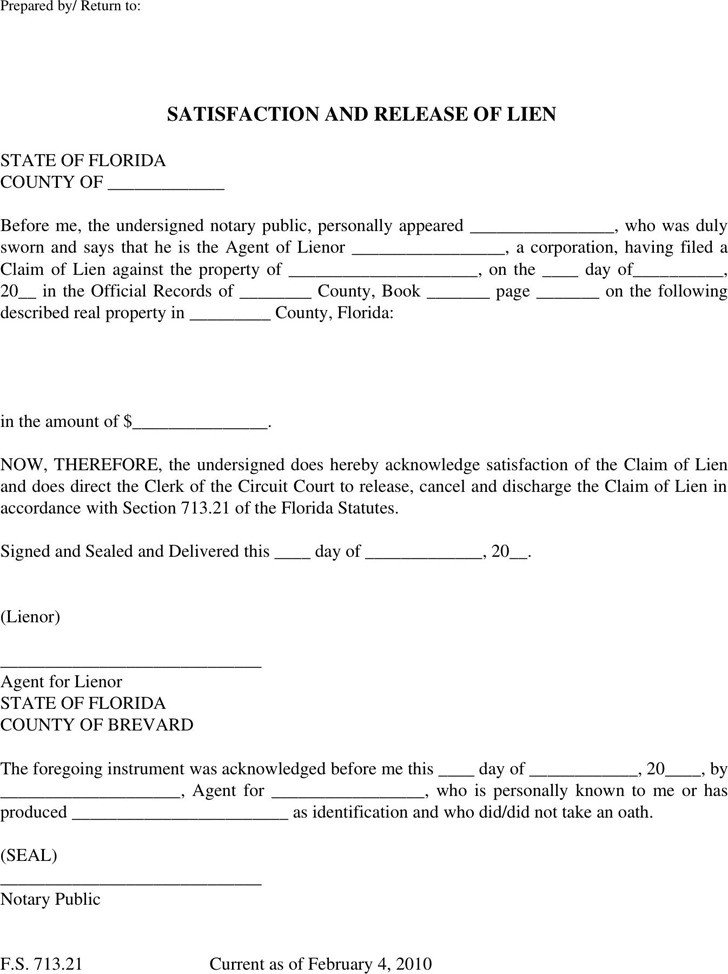 Florida Lien Release forms 2 Florida Lien Release form Free Download