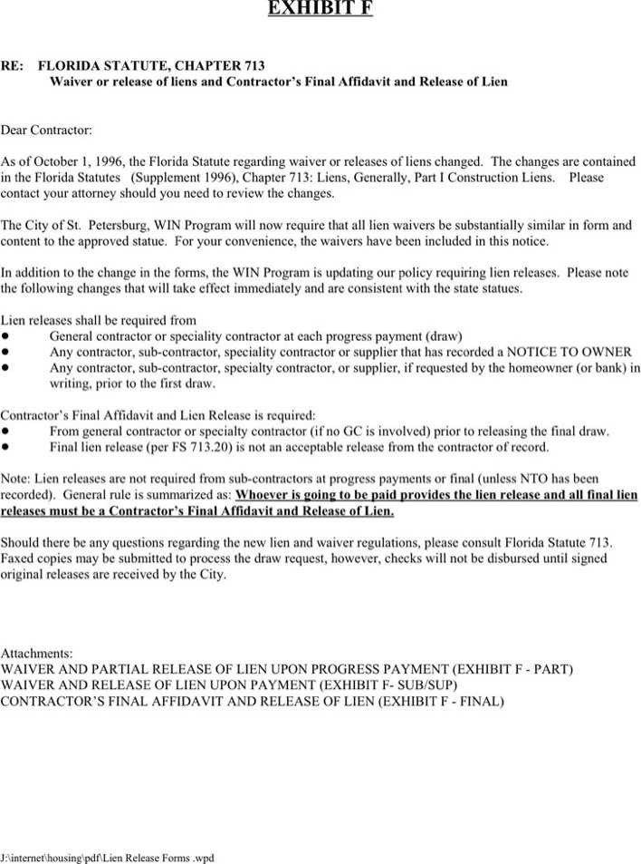 Florida Lien Release forms Download Florida Lien Release form 2 for Free Tidytemplates
