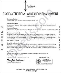 Florida Lien Release forms Florida Conditional Waiver and Release Of Lien Upon Final