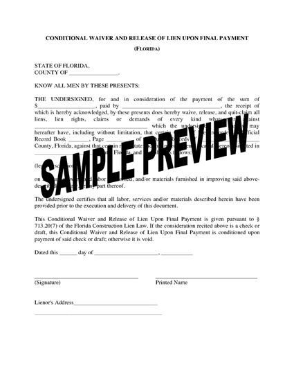 Florida Lien Release forms Florida Lien Waiver and Release forms
