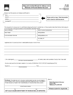 Florida Lien Release forms form Dr 308 Request and Certificate for Waiver and Release