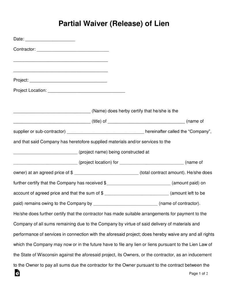 Florida Lien Release forms Free Partial Release Of Lien form Word Pdf