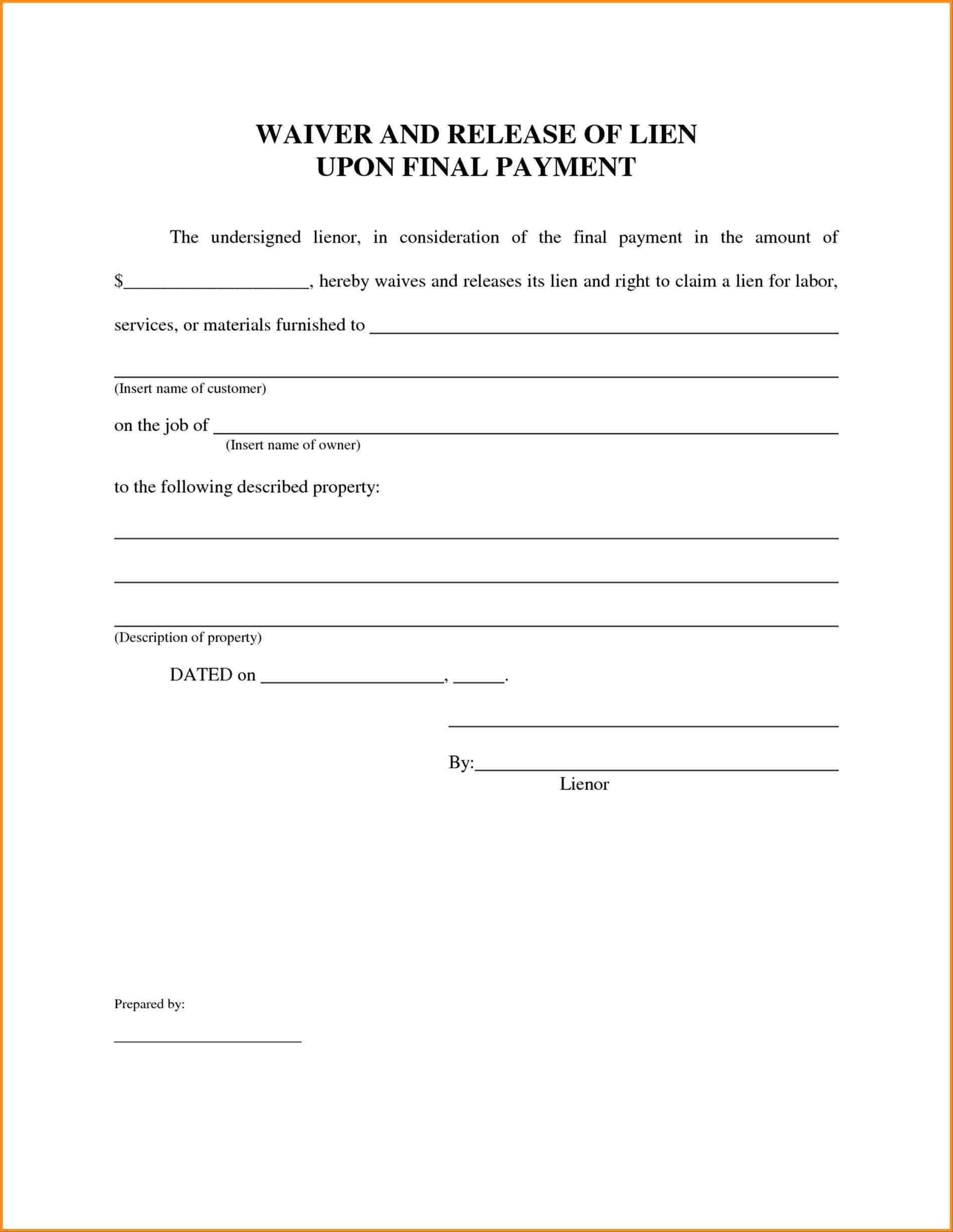 Florida Lien Release forms Graphy Property Release form Template