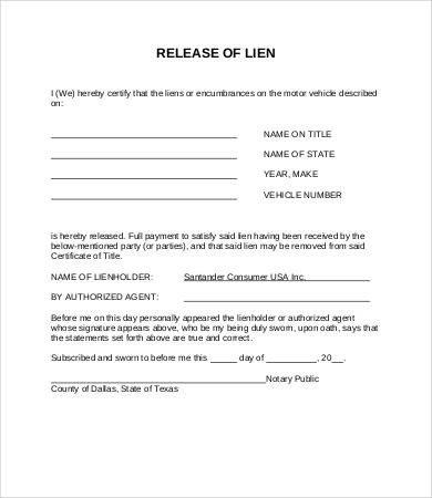 Florida Lien Release forms Lien Release form 8 Free Word Pdf Documents Download