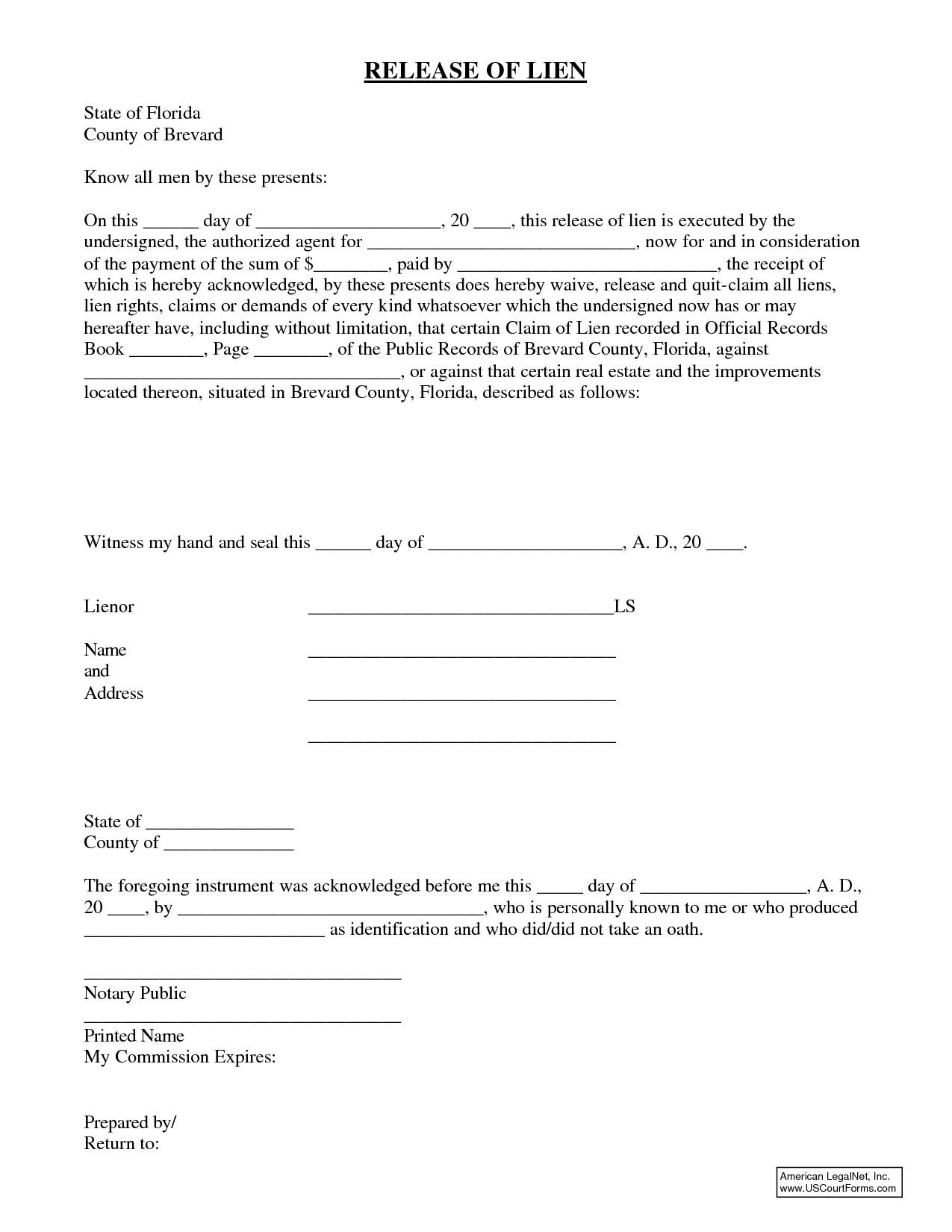 Florida Lien Release forms Release Of Lien form Florida the Hidden Agenda Release