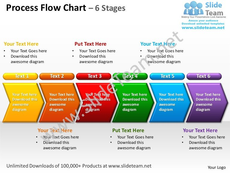 Flow Chart Template Powerpoint Free Process Flow Chart 6 Stages Powerpoint Templates 0712