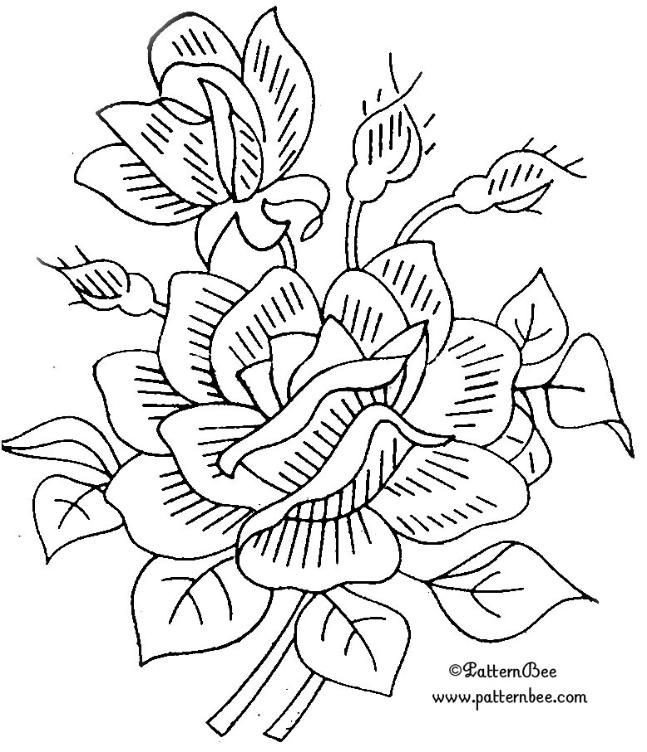 Flower Patterns to Trace Embroidery Pattern Colour It Sew It Trace It Etc