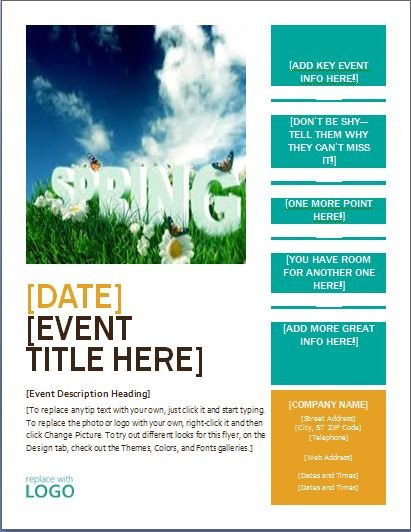 Flyer Template Ms Word Ms Word Seasonal event Flyer Templates