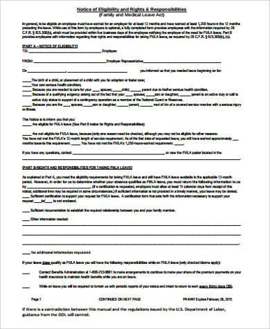Fmla forms California Sample Family Medical Leave Act form 8 Examples In Word