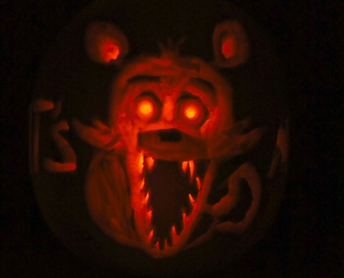 Fnaf Foxy Pumpkin Stencil Foxy Pumpkin Five Nights at Freddys by Alexmorgaen On