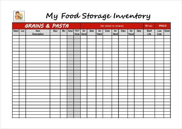 Food Inventory Sheet Printable 12 Food Inventory Templates – Free Sample Example