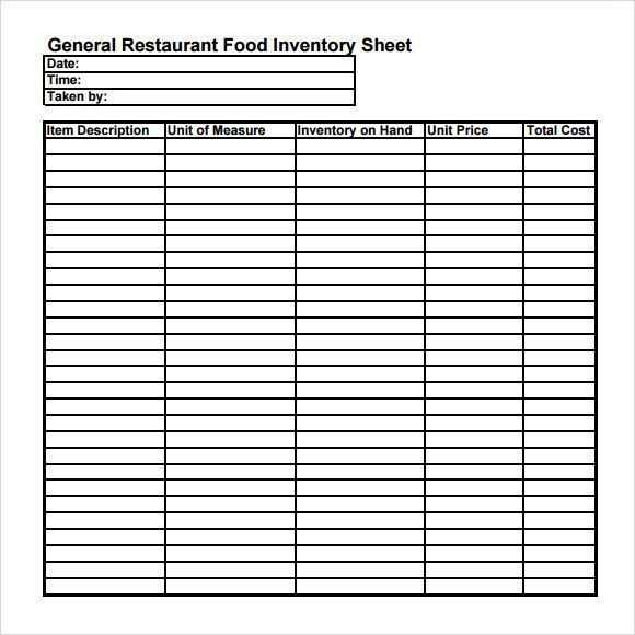 Food Inventory Sheet Printable Food Inventory Template 9 Download Free Document In Pdf