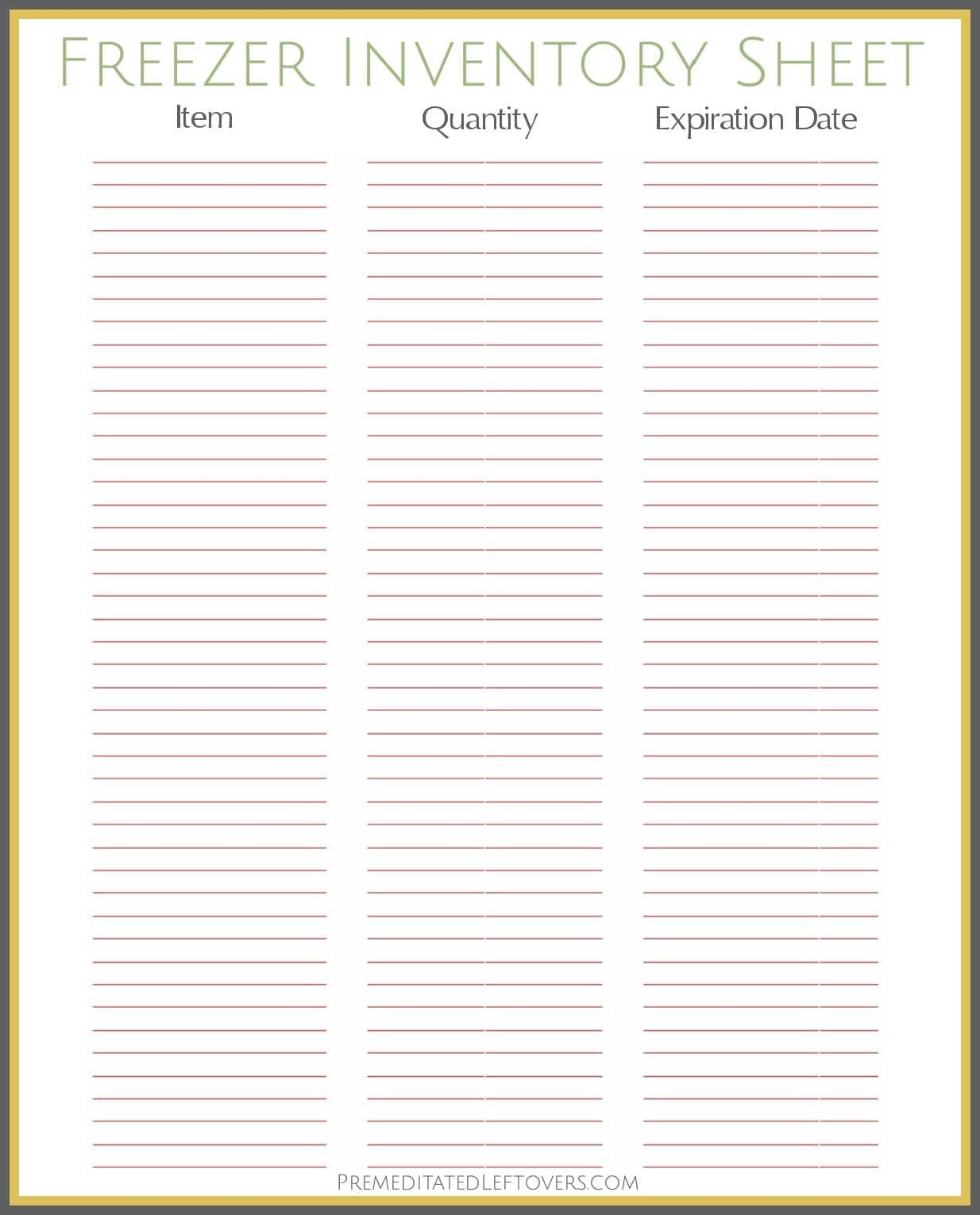 Food Inventory Sheet Printable Free Printables From Premeditated Leftovers