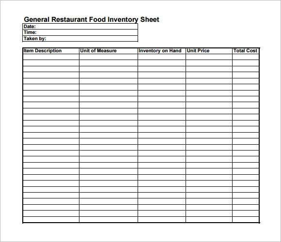 Food Inventory Sheet Printable Inventory Sheet Template – 9 Free Samples Examples format