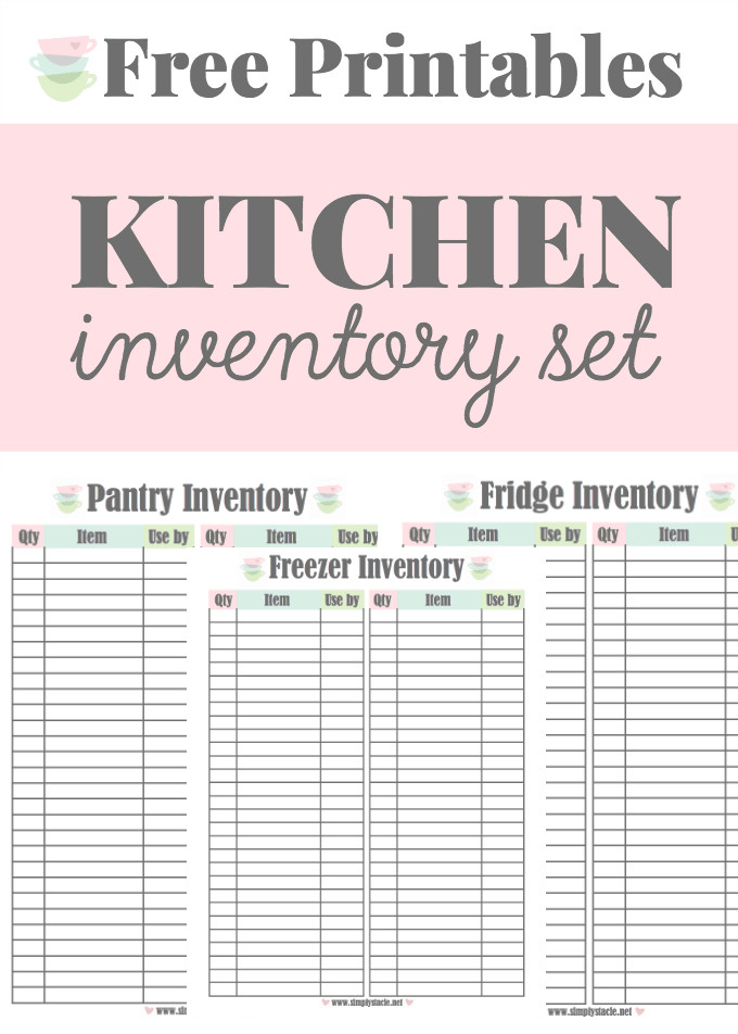 Food Inventory Sheet Printable Kitchen Inventory Printables Simply Stacie