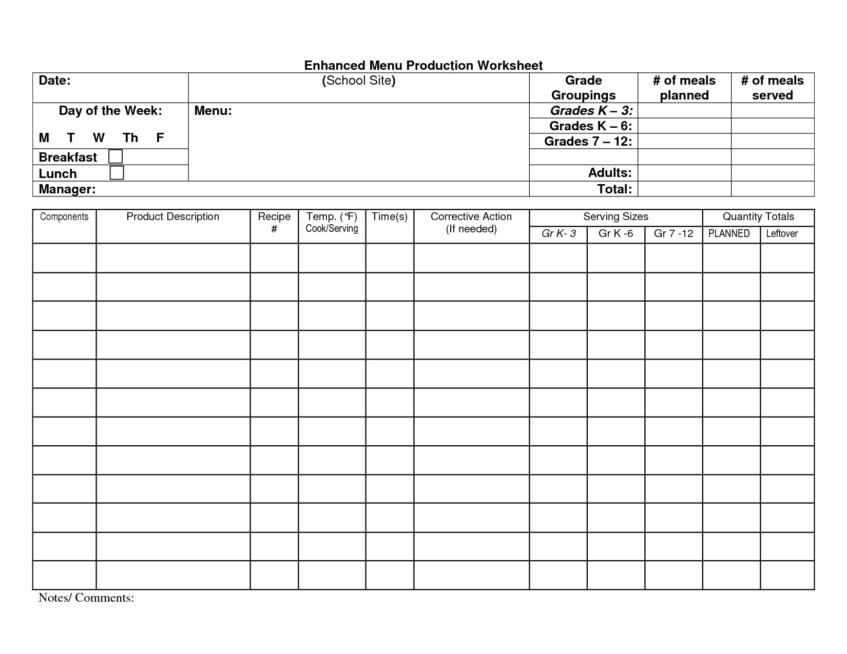 Food Service Production Sheets School Cafeteria Spreadsheet