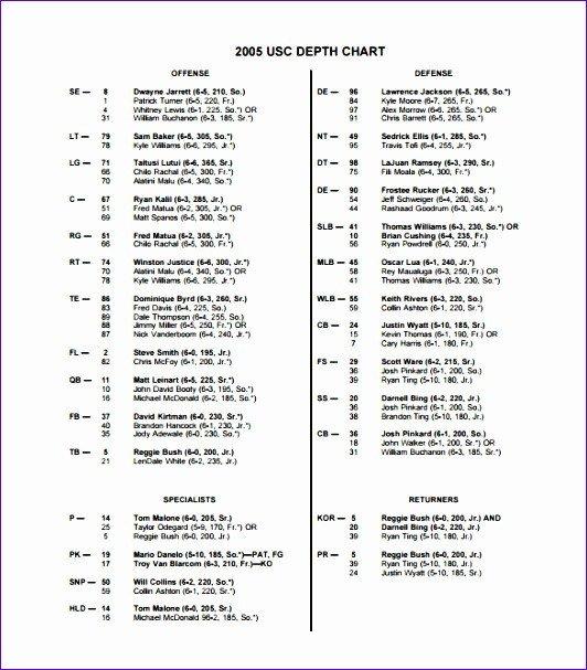 Football Depth Chart Template 10 Football Depth Chart Template Excel Exceltemplates