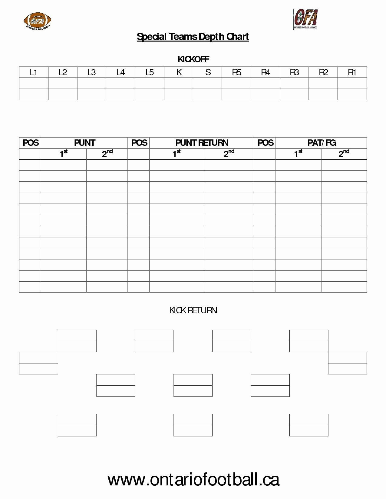 Football Depth Chart Template Excel Fantasy Football Draft Board Sheets Printable
