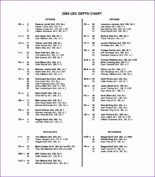 Football Depth Chart Templates 10 Football Depth Chart Template Excel Exceltemplates