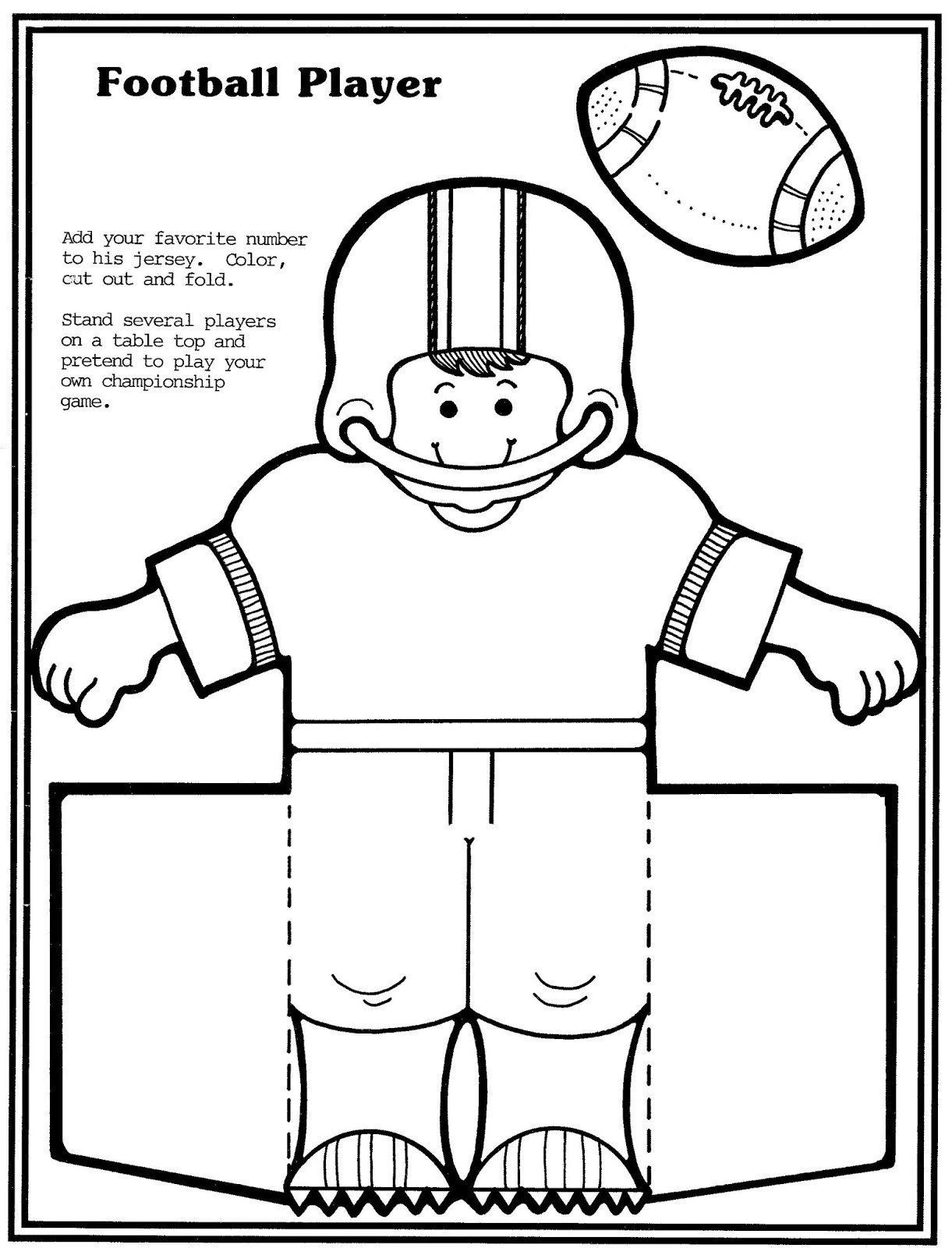 Football Player Template Printable Mostly Paper Dolls too Football Player and Cheerleader