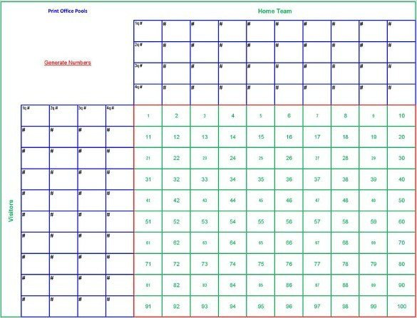 Football Pool Grid Template Free 6 Blank Printable Football Squares Template Download