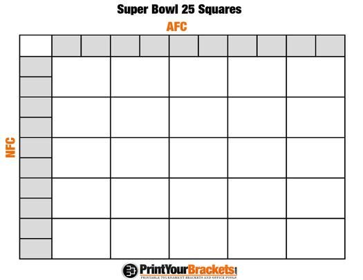 Football Pool Grid Template Printable Super Bowl Squares 25 Grid Fice Pool