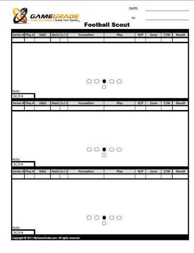 Football Scouting Template Free 2pt Conversion Chart Frompo