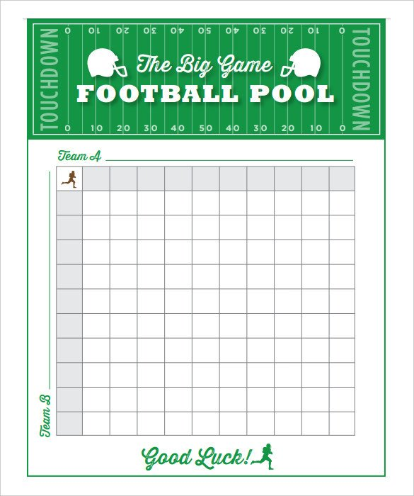 Football Squares Template Excel 19 Football Pool Templates Word Excel Pdf