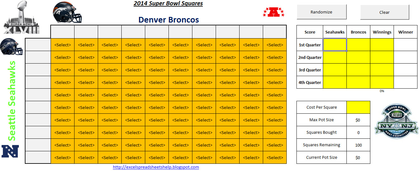 Football Squares Template Excel 2014 Super Bowl Squares Spreadsheet