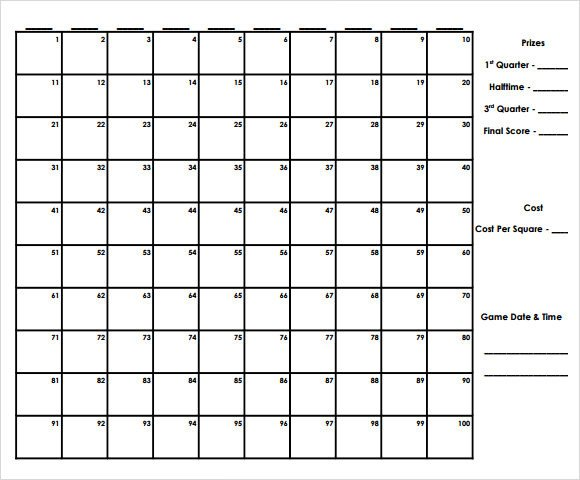 Football Squares Template Excel Sample Football Pool 7 Documents In Pdf Word Excel