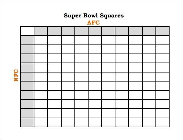 Football Squares Template Excel Super Bowl Squares Template Excel
