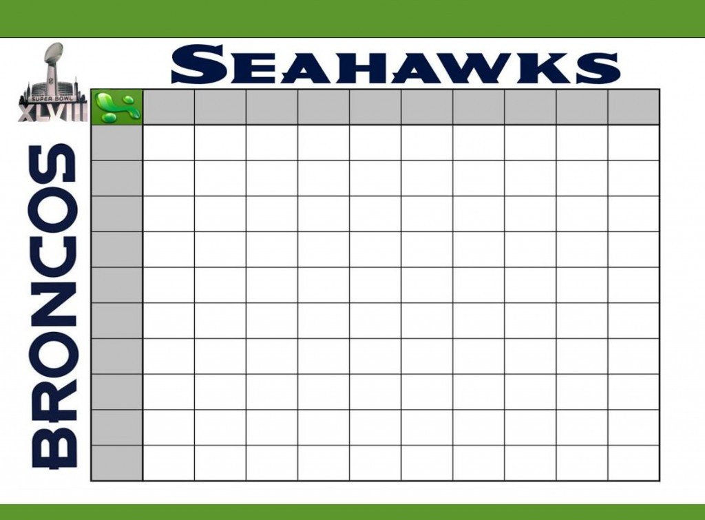 Football Squares Template Excel Super Bowl Squares Template