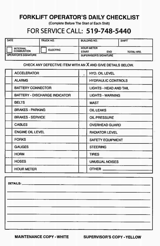 Forklift Inspection form Excel forklift Inspection form forms 5758
