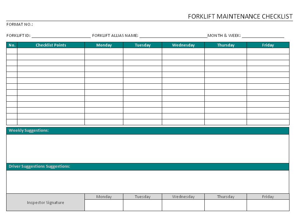 Forklift Inspection form Excel forklift Maintenance Checklist