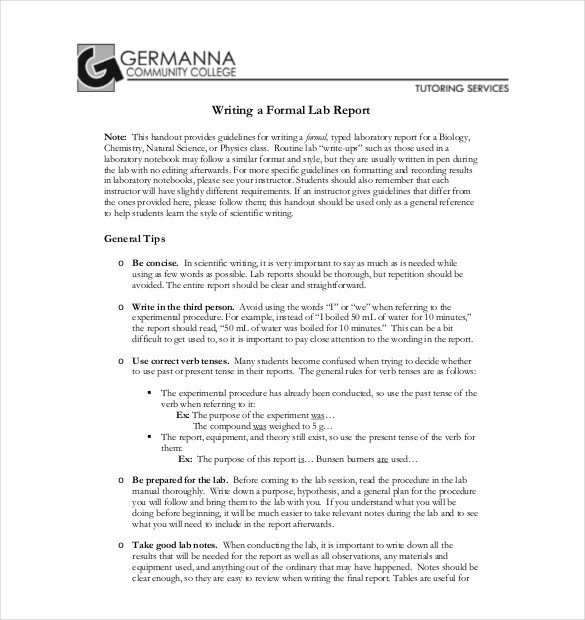Formal Lab Report Template 29 Lab Report Templates Pdf Google Docs Word Apple
