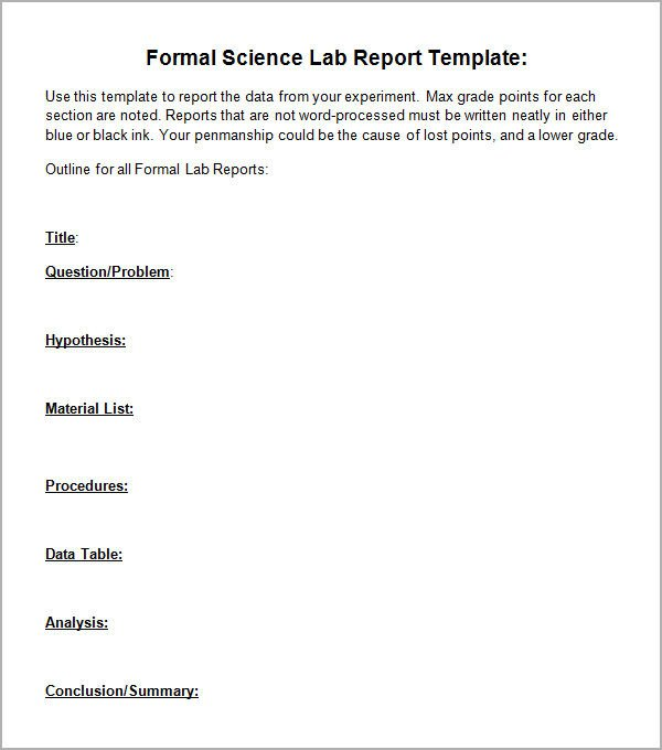 Formal Lab Report Template 7 Sample Lab Report Templates Pdf Docs Word Pages